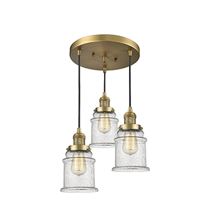 Canton Brushed Brass Three-Light Pendant with Seedy Bell Glass