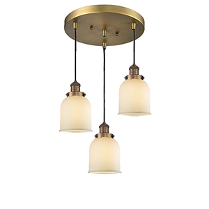Small Bell Brushed Brass Three-Light Pendant with Matte White Cased Bell Glass