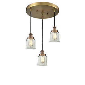 Small Bell Brushed Brass Three-Light Pendant with Clear Bell Glass