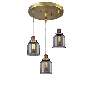 Small Bell Brushed Brass Three-Light Pendant with Smoked Bell Glass