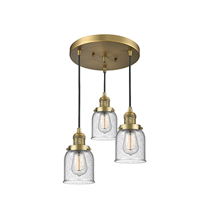 Small Bell Brushed Brass Three-Light Pendant with Seedy Bell Glass