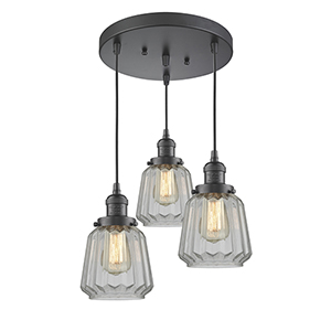 Chatham Oiled Rubbed Bronze Three-Light Pendant with Clear Fluted Novelty Glass