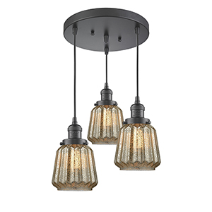 Chatham Oiled Rubbed Bronze Three-Light Pendant with Mercury Fluted Novelty Glass