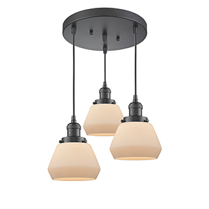 Fulton Oiled Rubbed Bronze Three-Light Pendant with Matte White Cased Sphere Glass