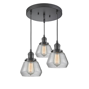 Fulton Oiled Rubbed Bronze Three-Light Pendant with Clear Sphere Glass