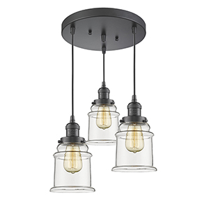 Canton Oiled Rubbed Bronze Three-Light Pendant with Clear Bell Glass