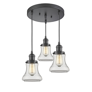 Bellmont Oiled Rubbed Bronze Three-Light Pendant with Clear Hourglass Glass