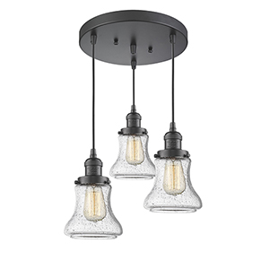 Bellmont Oiled Rubbed Bronze Three-Light Pendant with Seedy Hourglass Glass