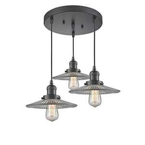 Halophane Oiled Rubbed Bronze Three-Light Pendant with Halophane Cone Glass