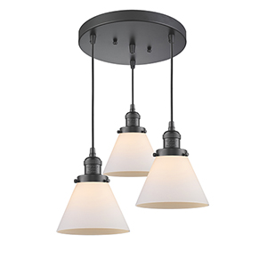 Large Cone Oiled Rubbed Bronze Three-Light Pendant with Matte White Cased Cone Glass