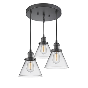 Large Cone Oiled Rubbed Bronze Three-Light Pendant with Clear Cone Glass