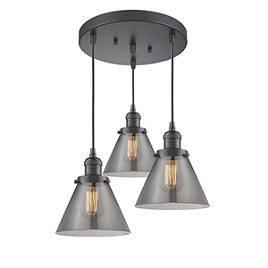 Large Cone Oiled Rubbed Bronze Three-Light Pendant with Smoked Cone Glass