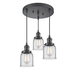 Small Bell Oiled Rubbed Bronze Three-Light Pendant with Clear Bell Glass