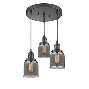 Small Bell Oiled Rubbed Bronze Three-Light Pendant with Smoked Bell Glass