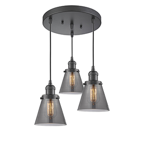 Small Cone Oiled Rubbed Bronze Three-Light Pendant with Smoked Cone Glass