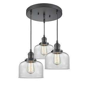 Large Bell Oiled Rubbed Bronze Three-Light Pendant with Clear Dome Glass