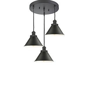 Briarcliff Oiled Rubbed Bronze Three-Light Pendant with Oil Rubbed Bronze Metal Shade