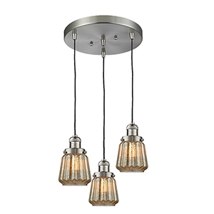 Chatham Brushed Satin Nickel Three-Light Pendant with Mercury Fluted Novelty Glass