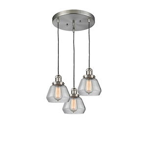 Fulton Brushed Satin Nickel Three-Light Pendant with Clear Sphere Glass
