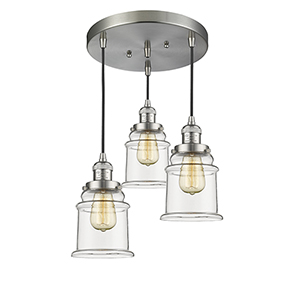 Canton Brushed Satin Nickel Three-Light Pendant with Clear Bell Glass