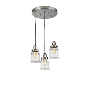 Canton Brushed Satin Nickel Three-Light Pendant with Seedy Bell Glass