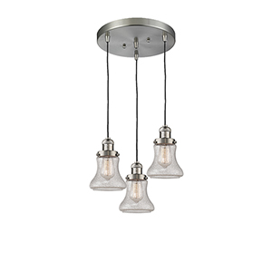 Bellmont Brushed Satin Nickel Three-Light Pendant with Seedy Hourglass Glass