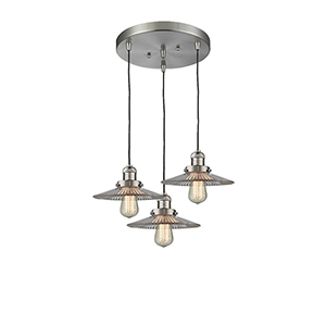 Halophane Brushed Satin Nickel Three-Light Pendant with Halophane Cone Glass