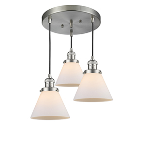 Large Cone Brushed Satin Nickel Three-Light Pendant with Matte White Cased Cone Glass