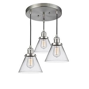 Large Cone Brushed Satin Nickel Three-Light Pendant with Clear Cone Glass