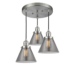 Large Cone Brushed Satin Nickel Three-Light Pendant with Smoked Cone Glass