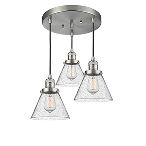 Large Cone Brushed Satin Nickel Three-Light Pendant with Seedy Cone Glass