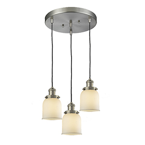 Small Bell Brushed Satin Nickel Three-Light Pendant with Matte White Cased Bell Glass