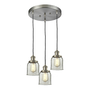 Small Bell Brushed Satin Nickel Three-Light Pendant with Clear Bell Glass