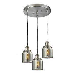 Small Bell Brushed Satin Nickel Three-Light Pendant with Smoked Bell Glass