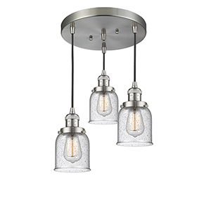 Small Bell Brushed Satin Nickel Three-Light Pendant with Seedy Bell Glass