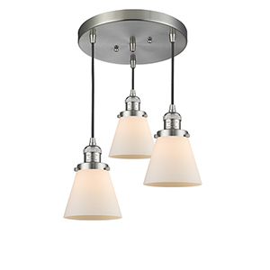 Small Cone Brushed Satin Nickel Three-Light Pendant with Matte White Cased Cone Glass