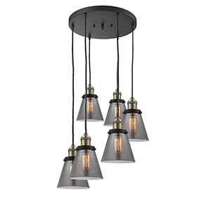 Small Cone Black Antique Brass Six-Light Pendant with Smoked Cone Glass