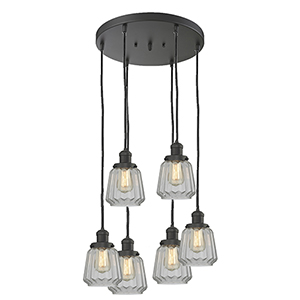 Chatham Oiled Rubbed Bronze Six-Light Pendant with Clear Fluted Novelty Glass