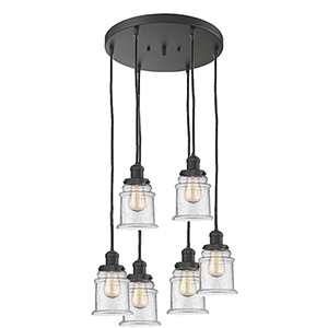 Canton Oiled Rubbed Bronze Six-Light Pendant with Seedy Bell Glass