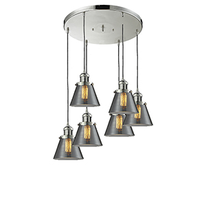 Small Cone Polished Nickel Six-Light Pendant with Smoked Cone Glass