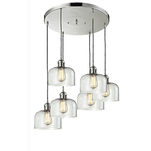 Large Bell Polished Nickel Six-Light Pendant with Clear Dome Glass