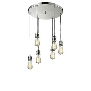 Bare Bulb Polished Nickel Six-Light Pendant