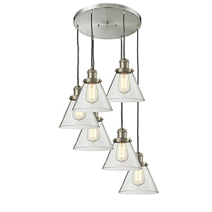 Large Cone Brushed Satin Nickel Six-Light Pendant with Clear Cone Glass
