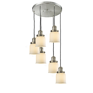 Small Bell Brushed Satin Nickel Six-Light Pendant with Matte White Cased Bell Glass