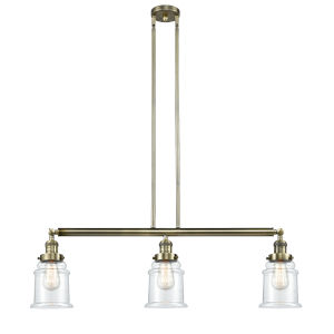 Canton Antique Brass Three-Light Island Pendant with Clear Glass