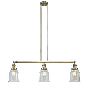 Canton Antique Brass Three-Light Island Pendant with Seedy Glass
