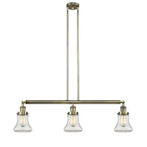 Bellmont Antique Brass Three-Light Island Pendant with Clear Glass