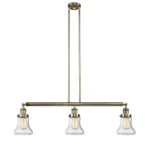 Bellmont Antique Brass Three-Light Adjustable Island Pendant with Seedy Glass