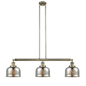 Large Bell Antique Brass Three-Light Adjustable Island Pendant