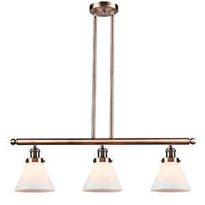 Large Cone Antique Copper Three-Light LED Island Pendant with Matte White Cased Cone Glass